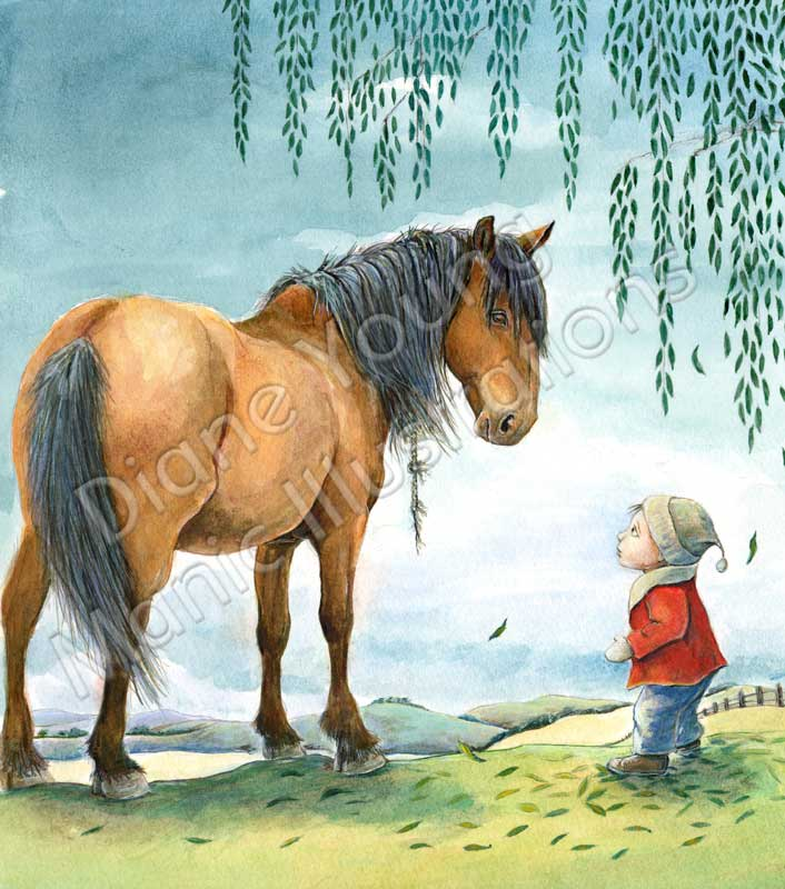 Painting of a horse and boy by artist illustrator Diane Young