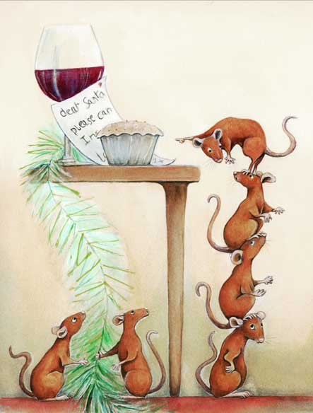 Painting of Mice Mischief at Christmas time by Diane Young