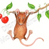 Painting by Diane Young - Mouse on a Branch
