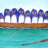 ACEO painting BY Diane Young - Too Many Penguins In A Boat