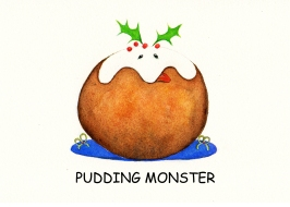 Christmas Card Design Pudding Monster by artist illustrator Diane Young