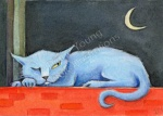 ACEO Moody Blue Cat by Diane Young