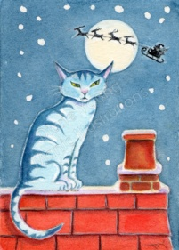 Here we go Again! Moody Blue Cat Painting by Diane Young of Manic illustrations