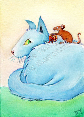 Painting of a mouse giving Blue cat a christmas present by Diane Young