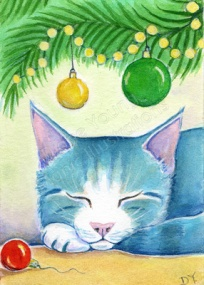 Blue Cat happy snoozing under tree at Christmas Painting by Diane Young of Manic Illustrations ACEO