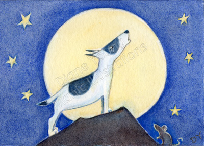 ACEO Digger & The Full Moon by Diane Young