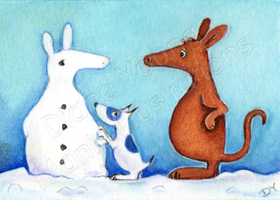 Painting of Digger the Dog and Harvey the Aardvark in the snow by Diane Young