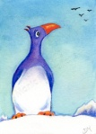 Painting of a character called George the Penguin by Diane Young