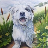 Pet portrait commission painting by artist Diane Young
