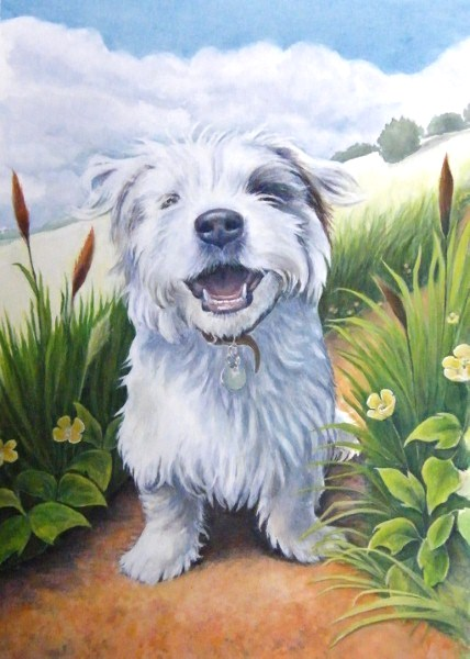 Pet portrait commission painting of a terrier dog by artist Diane Young