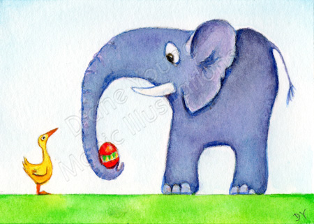 Painting by Diane Young of an elephant giving a duck an easter egg