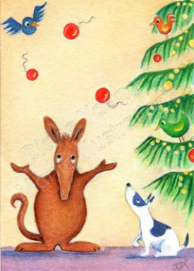 Painting of Harvey the Aardvark juggling xmas baubles by Diane Young