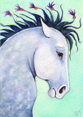 Dapples and Tassels Horse ACEO painting by Diane Young