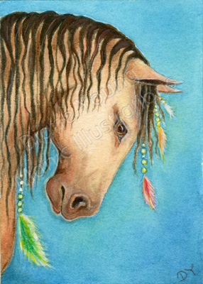 Horse Feathers and Forelocks Painting by Diane Young