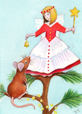 Mouse and Fairy Christmas ACEO painting by artist illustrator Diane Young