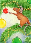 Mouse at Christmas with bauble Painting by artist illustrator Diane Young from Manic Illustrations