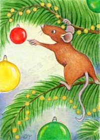 Mouse at Christmas with Bauble painting by artist illustrator Diane Young ACEO