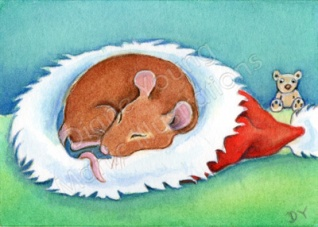 Painting of a mouse in Teddy's christmas hat by Diane Young