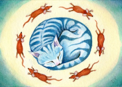 Blue Cat Dreams painting by artist illustrator Diane Young