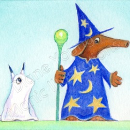 A Painting of characters Harvey the Aardvark & Digger in their Halloween Costmes by Diane Young