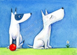 Snooty Westie Dogs fun Painting by illustrator artist Diane Young