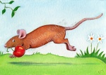 Mousie makes his escape with a cherry ACEO by Diane Young