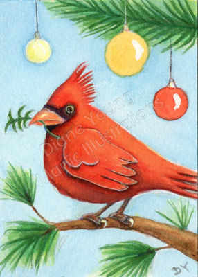Red Cardinal Bird painting inspired by a poem by Diane Young