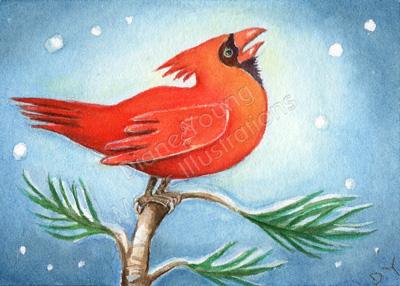 Red Cardinal singing a painting inspired by a poem by Diane Young