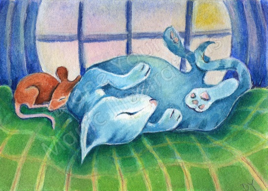 Painting of Blue cat and mouse sleeping on a window sill.