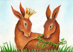 An original Painting by Diane Young featuring hares.