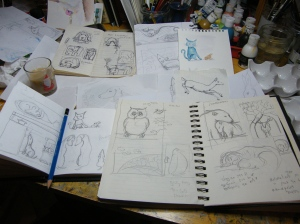 Sketches for ACEO paintings by artist Diane Young