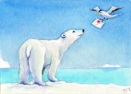 ACEO painting of a polar bear and a bird carrying a letter by Diane Young Artist