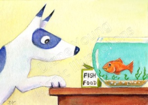 Digger the dog and Freddie the Goldfish a painting by artist Diane Young