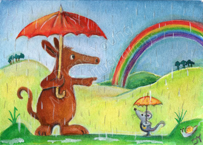 Harvey and the Rainbow ACEO Painting by artist Diane Young