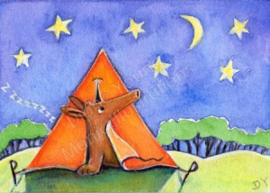 ACEO animal painting by artis Diane Young showing Harvey the Aardvark camping