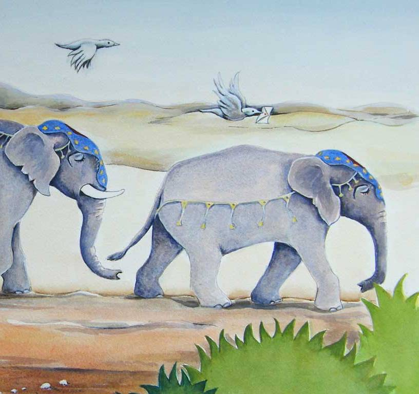 Elephants Travelling Painting by Artist Diane Young
