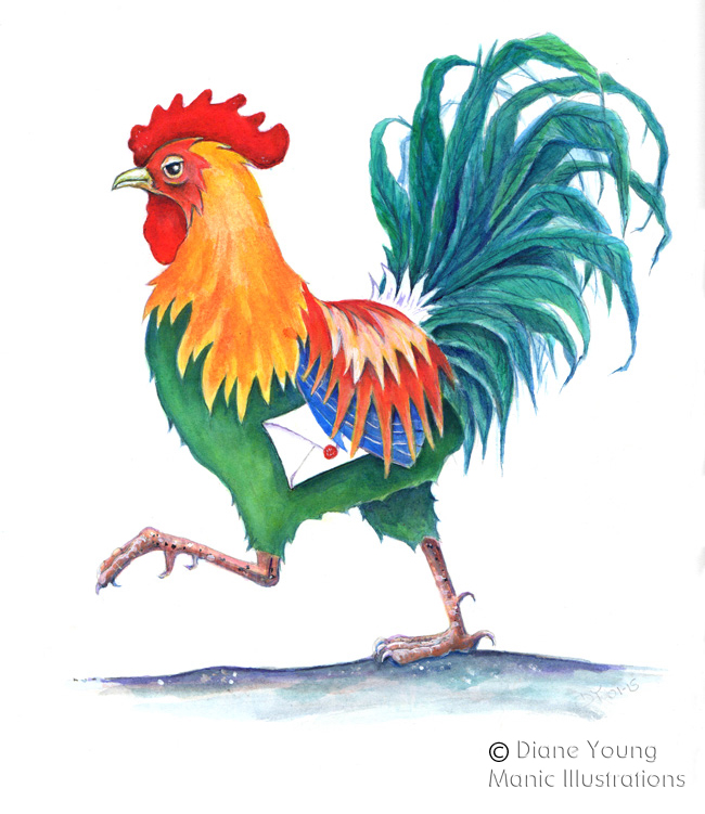 Painting of a Colourful Cockerel by Artist Diane Young