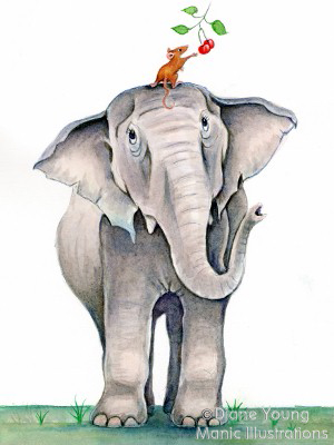 Painting of a cherry picking mouse and elephant by animal artist Diane Young of Stroud
