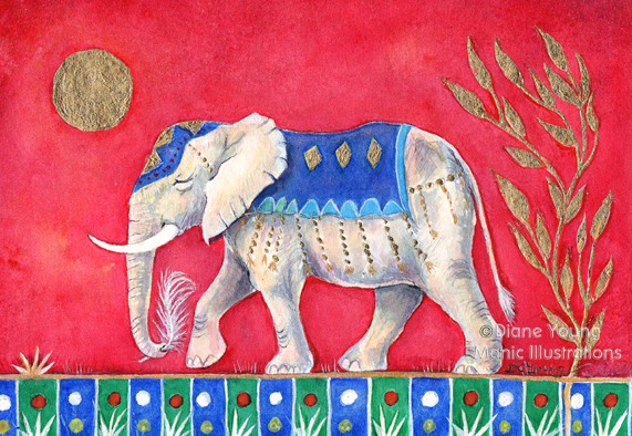 Elephant with a Crane Feather painted by animal artist Diane Young Stroud Manic Illustrations
