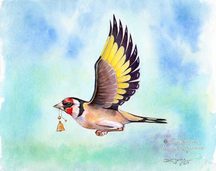 Painting of a goldfinch with a golden bell by artist Diane Young Manic Illustrations Stroud with gold leaf.