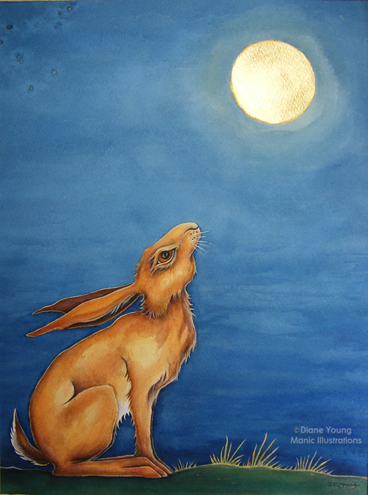 Painting of a Moongazing Hare with a gold leaf moon by artist Diane Young of Manic Illustrations Stroud
