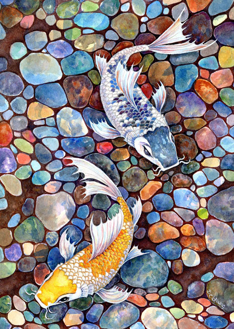 A detailed painting of Koi Carp over river bed stones by artist Diane Young glistening with gold and silver paint