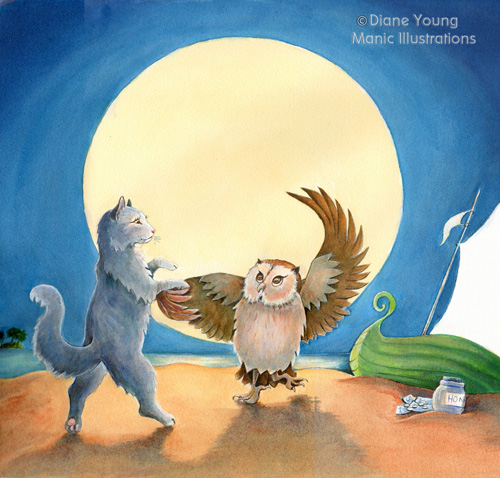 The Owl and Pussy Cat Dancing Painting by animal artist Diane Young of Stroud