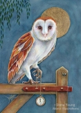 Painting of a barn owl with a stopwatch embellished with gold leaf by artist Diane Young of Manic Illustrations Stroud