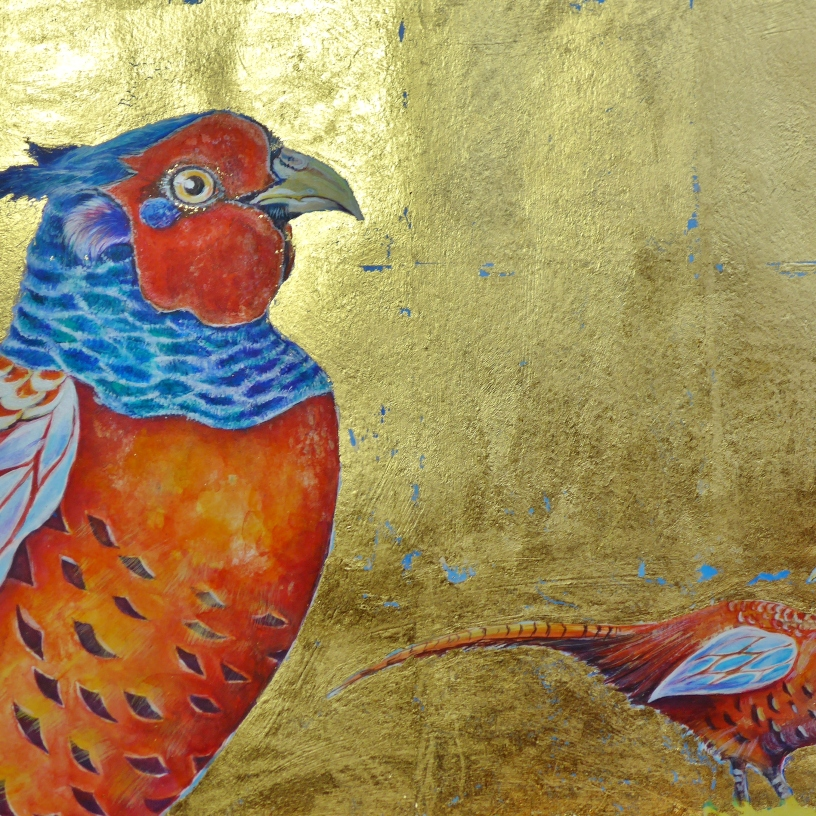 Image showing 2 pheasants on a gold leaf background by artist Diane Young