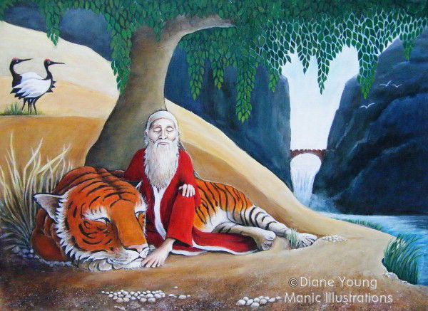 Sanshin with Tiger and Cranes mythological painting by artist Diane Young