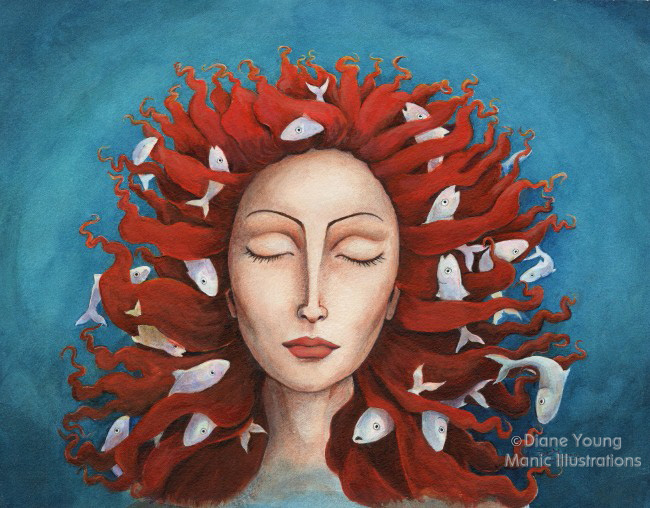 Painting of Mythology Sedna with fish by animal artist Diane YOung