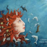 Painting of Mythology Sedna with arctic animals by artist Diane Young