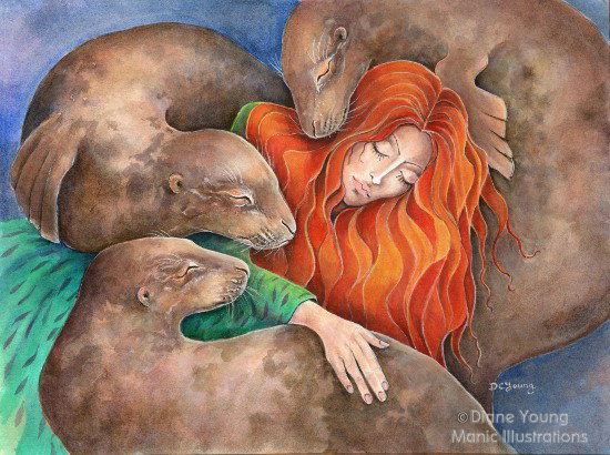 Mythological painting of Sedna and Seals by artist Diane Young
