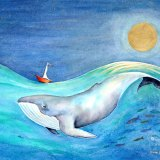 Whale, boat and golden moon Painting by artist Diane Young